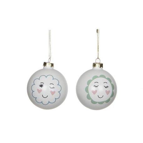 Set of 2 trendy Christmas balls face