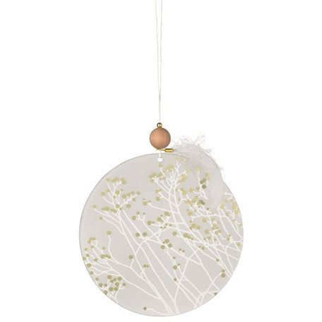 Frosted glas ornament takjes goud