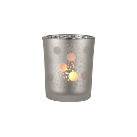 Frosted tealight holder dots grey / silver