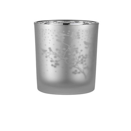 Frosted tealight holder twigs grey / silver