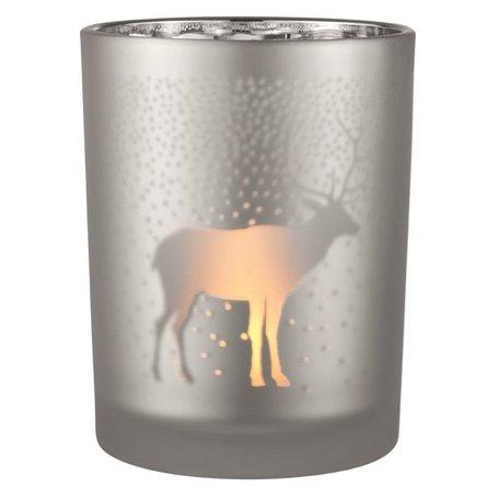 Frosted Tea light holder reindeer silver