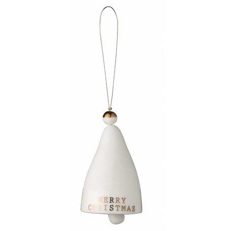 White porcelain Christmas bell Merry Christmas