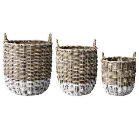 Dipped rattan basket Natural / white - Large