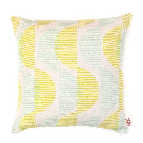 Cushion cover Sway - lemon / mint