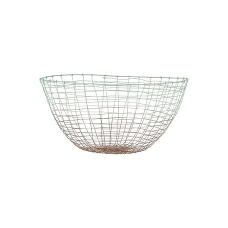 Dipped wire basket Deep - mint / copper