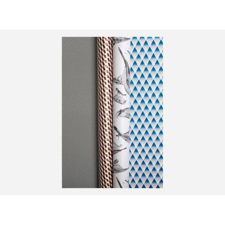 Luxe inpakpapier - Goud blokje / strepen