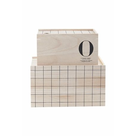 Set van 2 - houten opbergkistjes - O