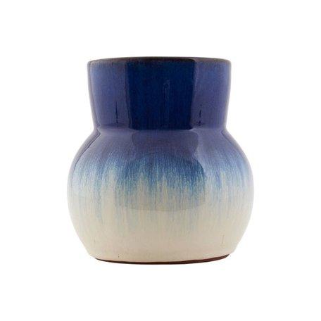 Vaas Flower - blauw / wit