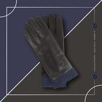 Waterproof Leather Gloves - Navy