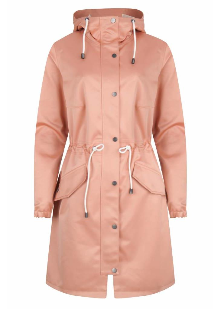 Waterproof Satin Rain Parka - Pink