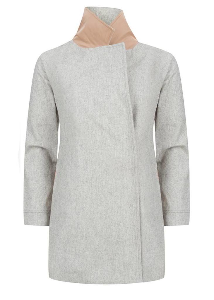Waterproof Colbert Coat - Grey Wool