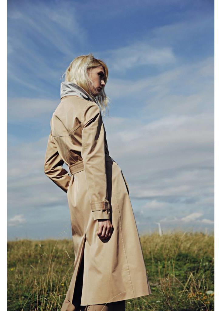 Waterproof Long Wrap Coat - Camel