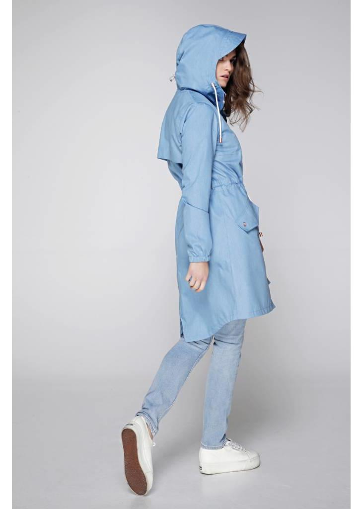 Waterproof Rain Parka - Lightweight Denim Blue