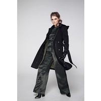 Waterproof Rain Wrap Coat - Black Wool