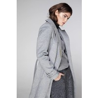 Waterproof Long Wrap Coat - Grey Wool