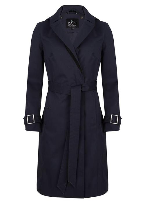 Rain Couture Long Wrap Coat - Navy