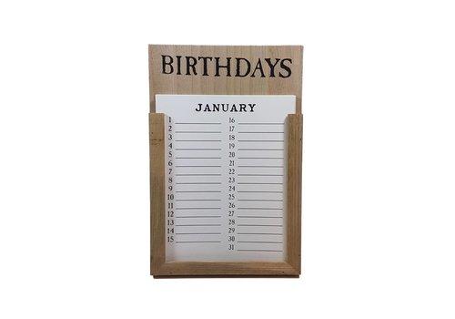 Flynn Kalender 'Birthdays' hout naturel