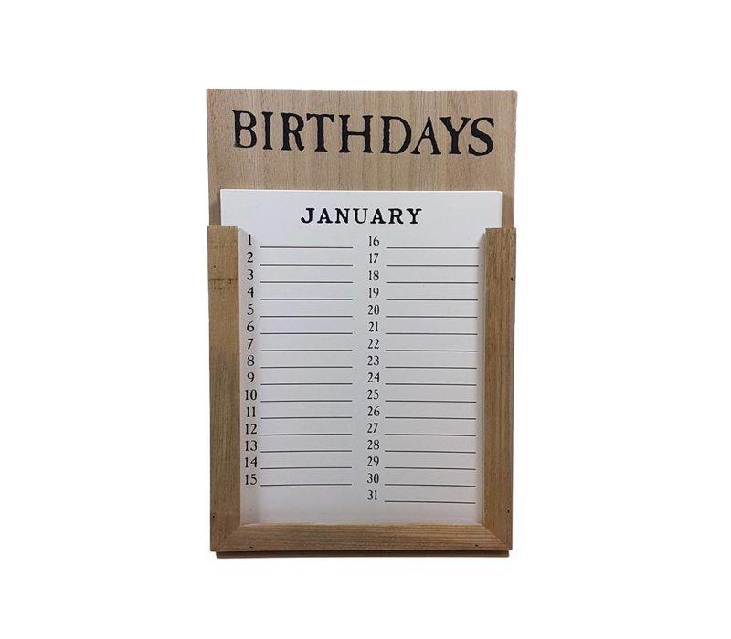 Kalender 'Birthdays' hout naturel
