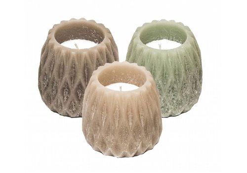 Kaars Graphic Cone, grijs/roze/groen set3