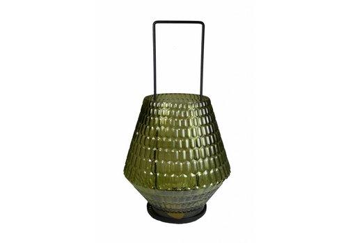 Windlicht van Glas met Hanger in Olijfgroen