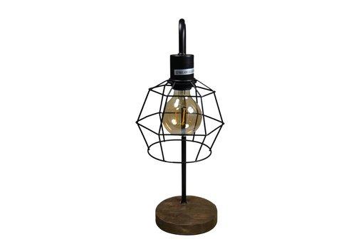 Tafellamp grafisch met metalen draadframe kap