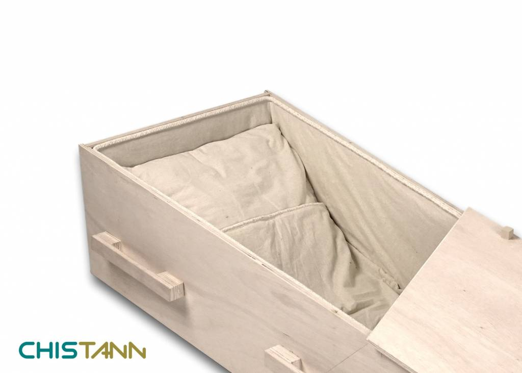 YOURSTORY CHISTANN flat pack eco-coffin with picture on lid