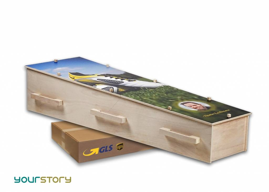 YOURSTORY CHISTANN flat pack eco-coffin with stormy beach picture on lid