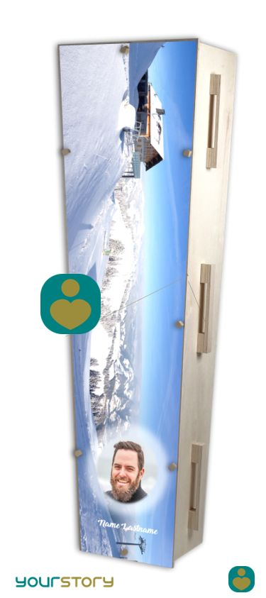 YOURSTORY CHISTANN flat pack eco-coffin with ski picture on lid