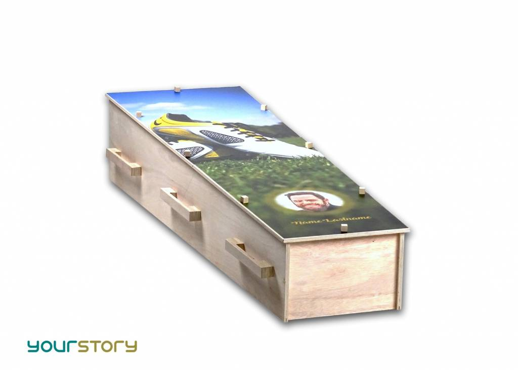 YOURSTORY CHISTANN flat pack green coffin with paper decal