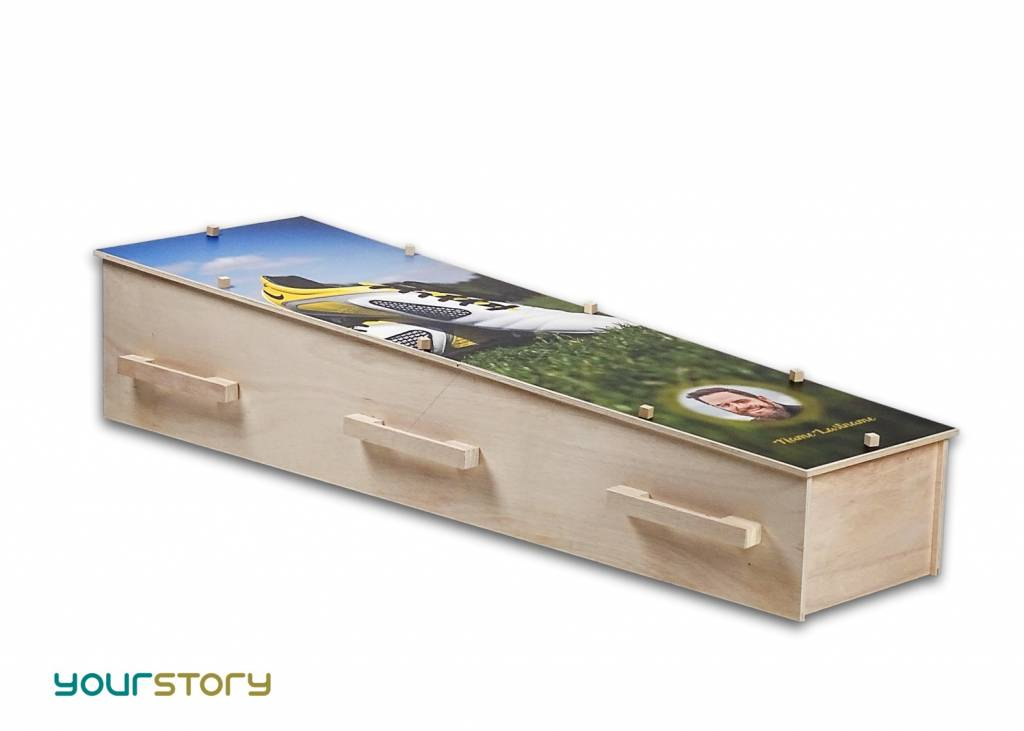 YOURSTORY CHISTANN flat pack eco-coffin with picture of engine
