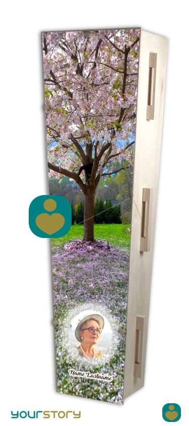 YOURSTORY CHISTANN flat pack eco-coffin with cherry blossom picture on lid