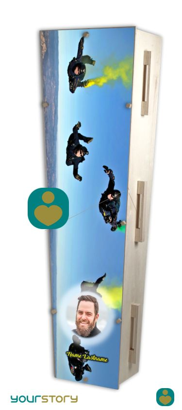YOURSTORY CHISTANN flat pack eco-coffin with skydiver picture on lid