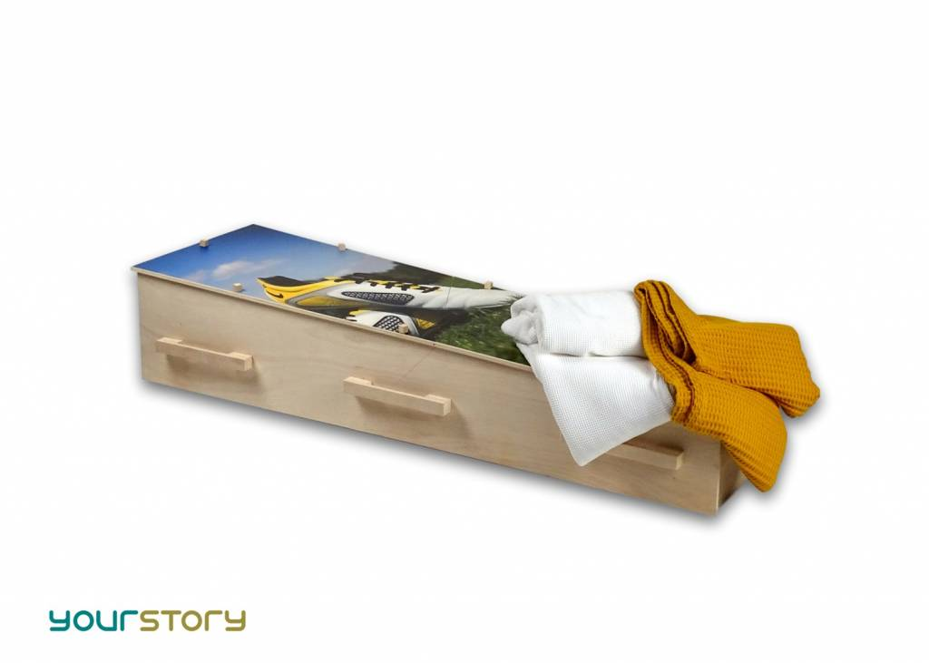 YOURSTORY CHISTANN flat pack eco-coffin with picture of classic sailing boat