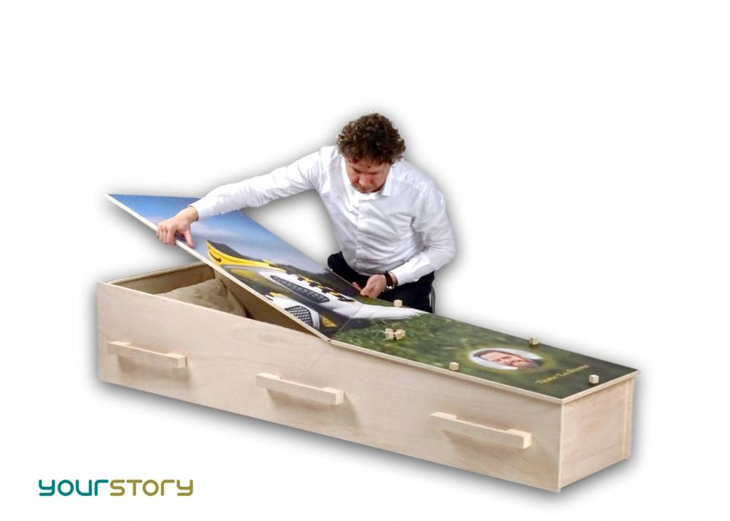 YOURSTORY CHISTANN flat pack eco-coffin with Swedish scenery picture on lid