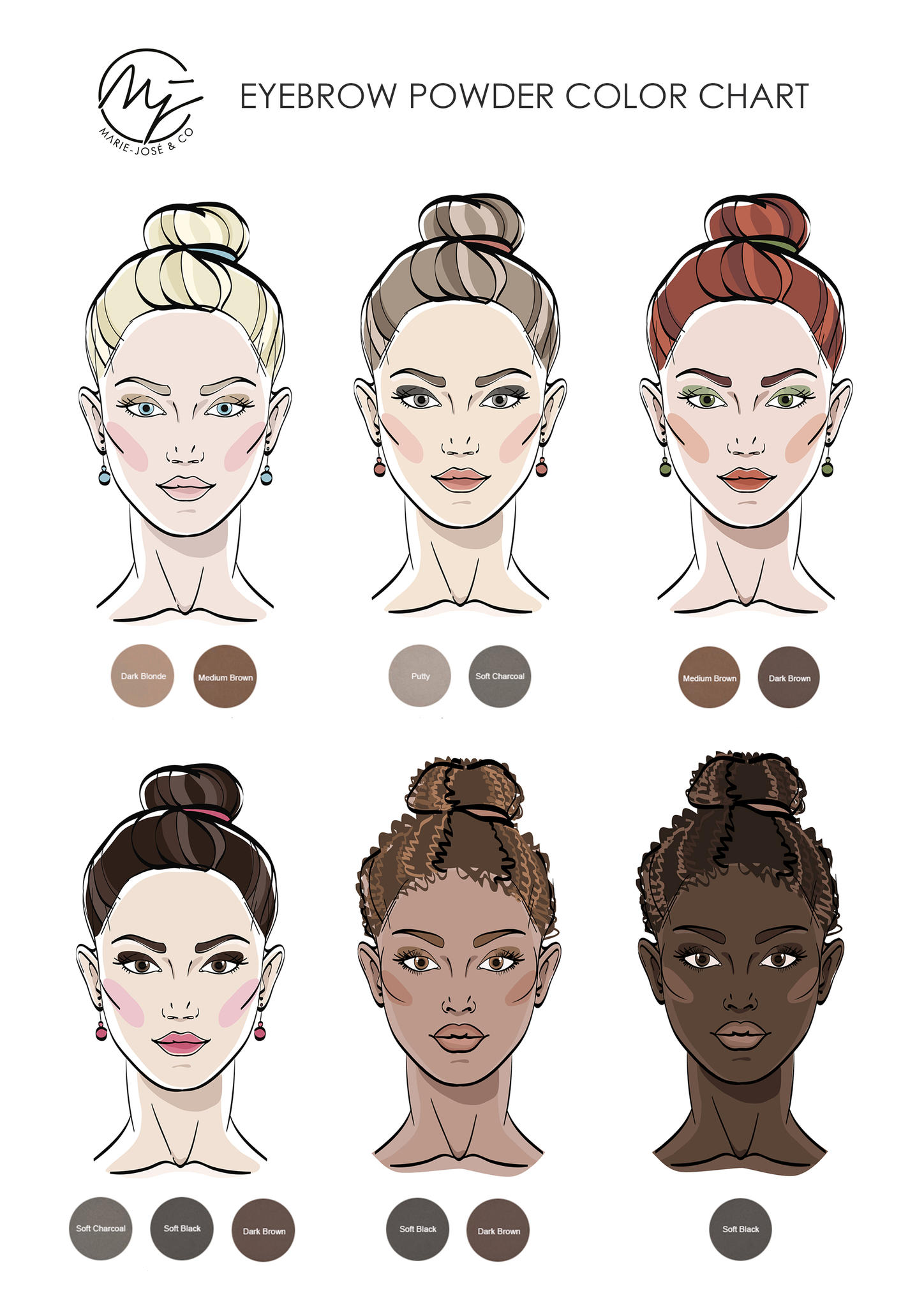 Eyebrow powder available in 6 beautiful colors marie jos co find your best colour match use our step by step tutorial for applying eyebrow powder to achieve perfectly enhanced brows nvjuhfo Choice Image