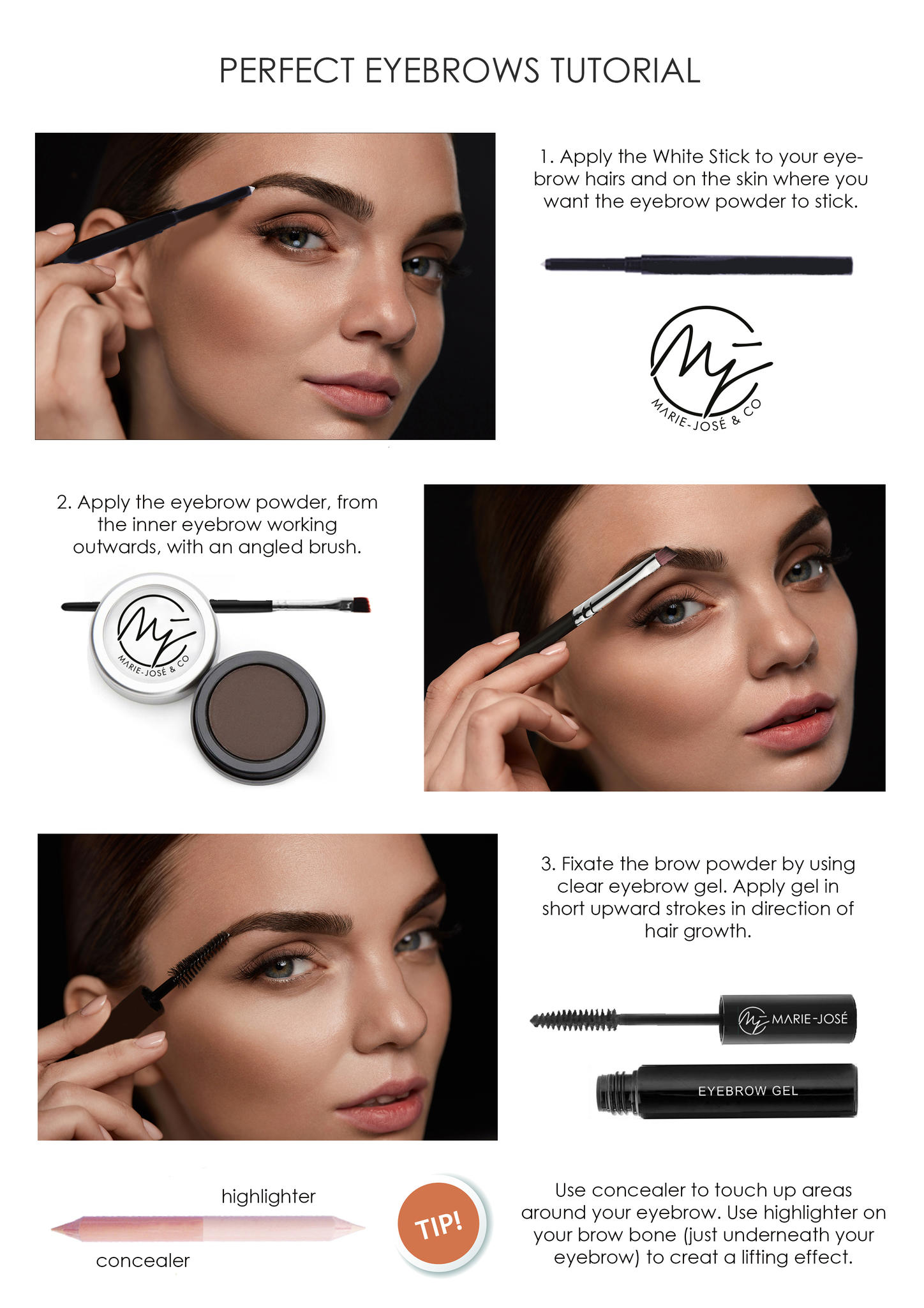 Eyebrow powder available in 6 beautiful colors marie jos co use our step by step tutorial for applying eyebrow baditri Images