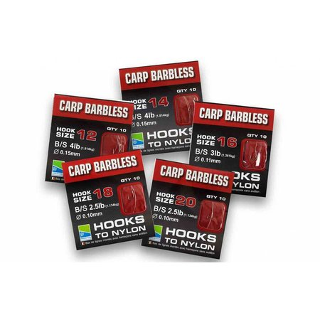 Preston Innovations Barbless Carp Hooks To Nylon