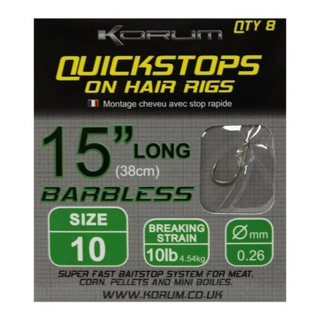 Korum 15in Hair Rigs With Quickstops