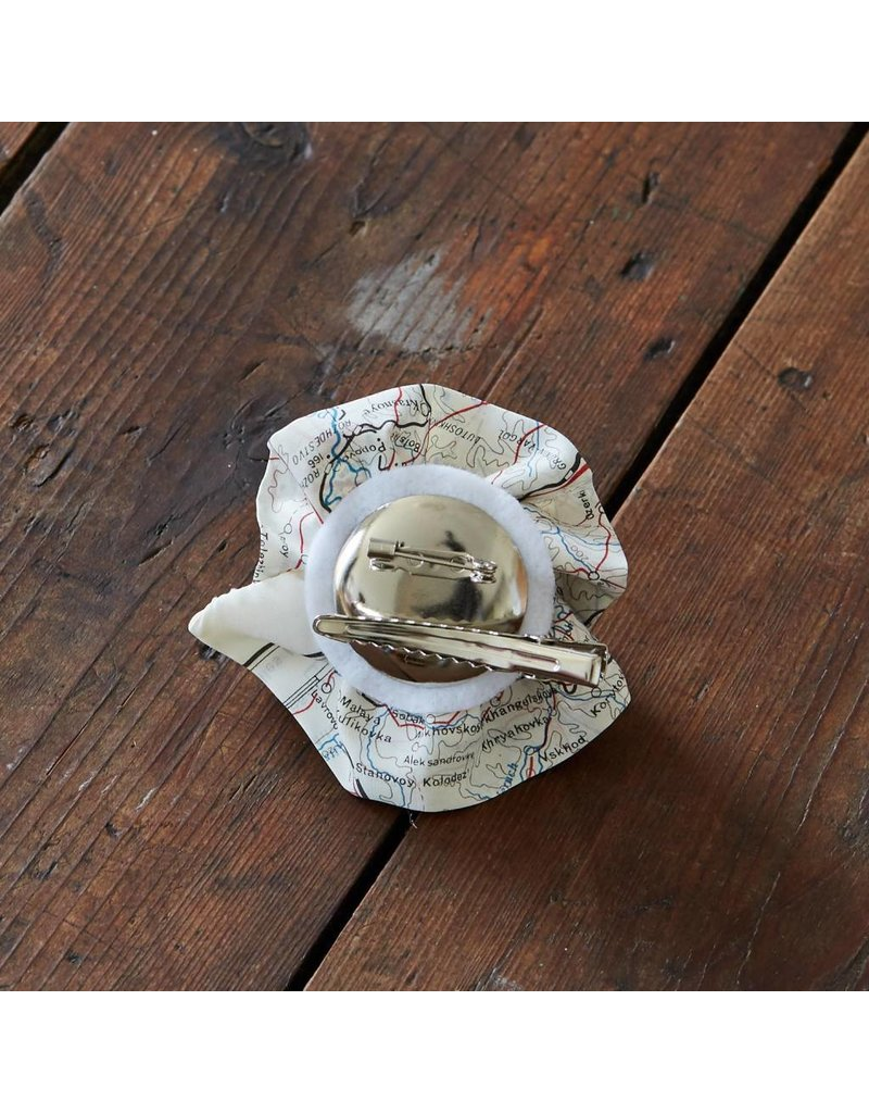 Home Front Vintage Escape and Evade Silk Map Brooch and Hairclip