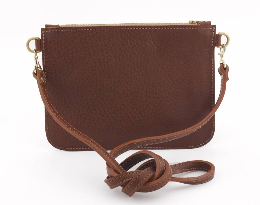 Home Front Vintage Limited Edition Esme Dark Brown Leather Clutch