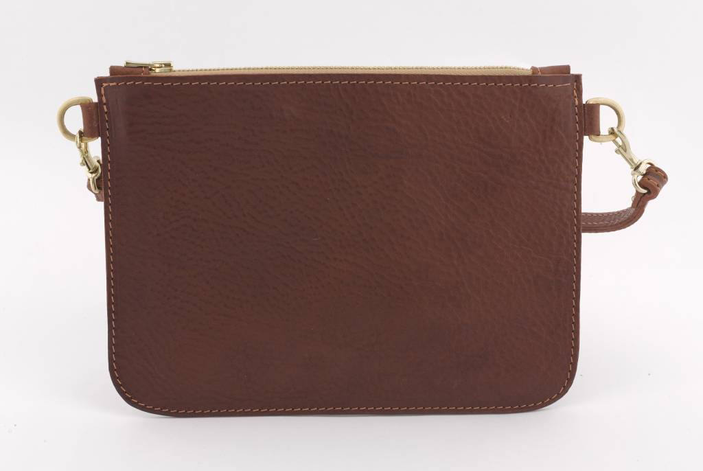 Home Front Vintage Limited Edition Esme Dark Brown Leather Clutch