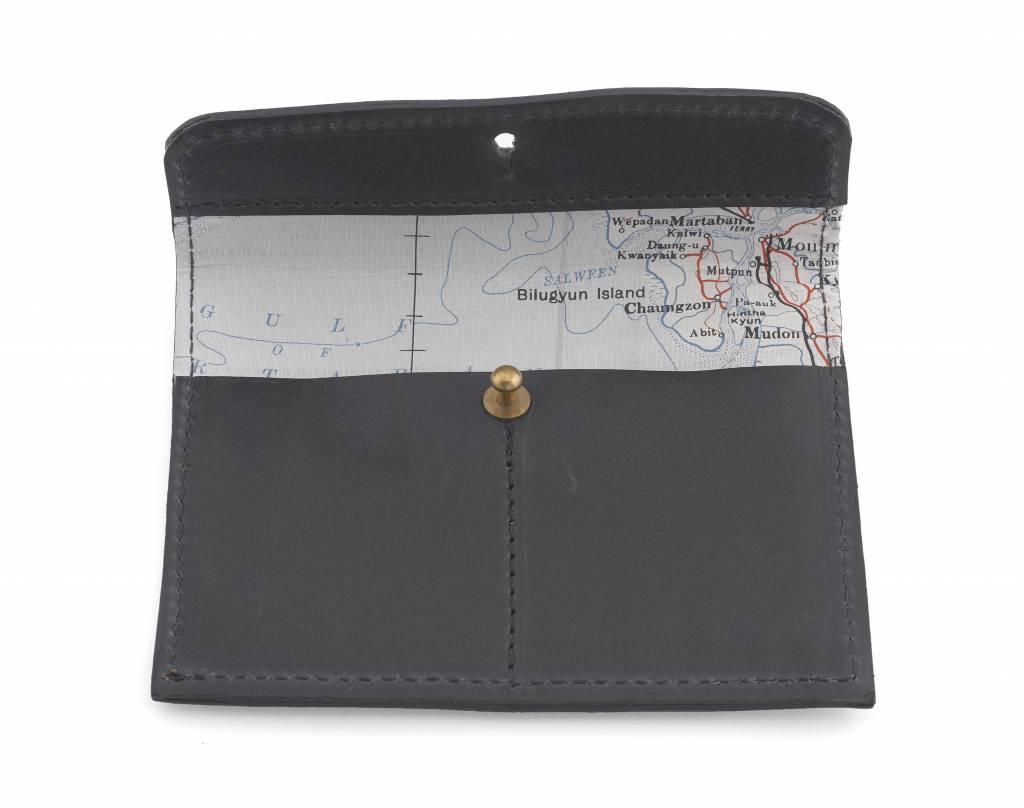 Home Front Vintage Silk Map Leather Wallet & Card Holder