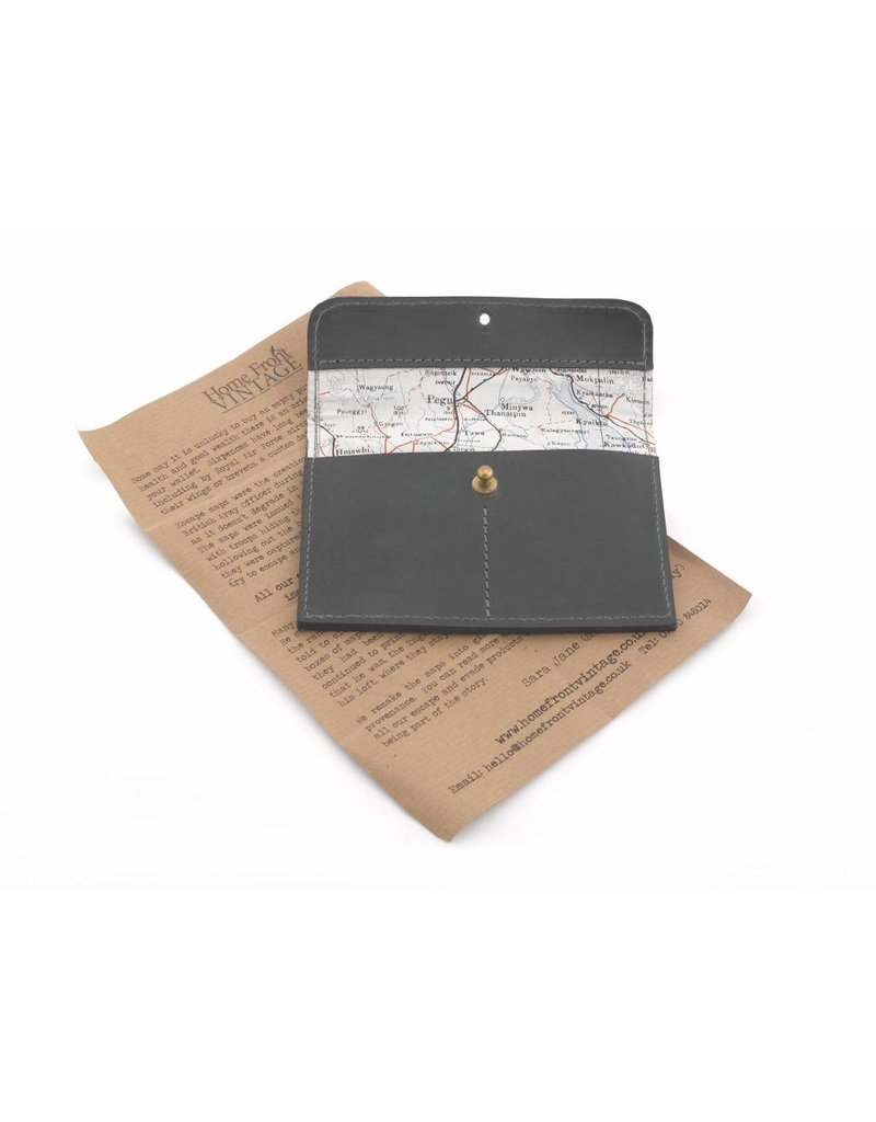 Home Front Vintage Silk Map Leather Wallet & Card Holder