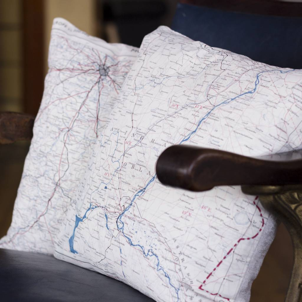 Home Front Vintage Escape and Evade Silk Map Square Cushion