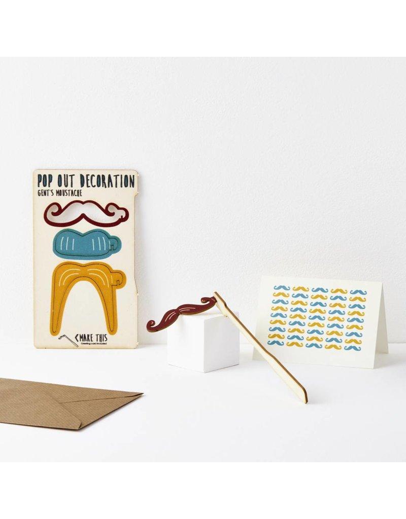 Pop Out Gents Moustache Card