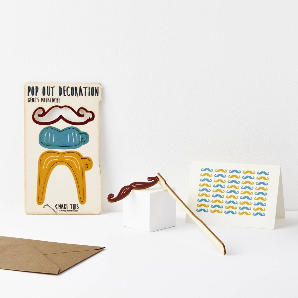 Pop Out Gents Moustache Card