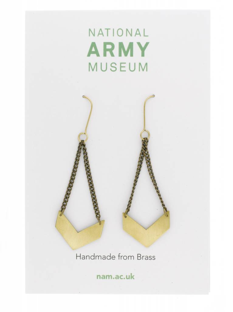 Just Trade Chevron Earrings Brass