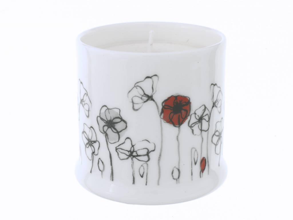 Field Poppy Bone China Candle