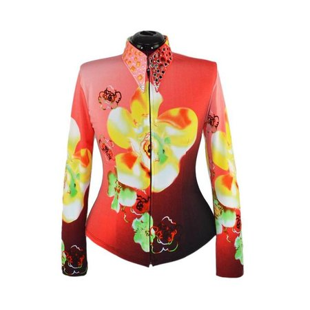 Lisa Nelle Red Ombre Flower Showshirt Größe M