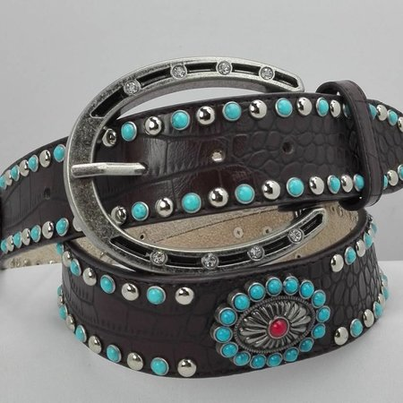 Angel Ranch Brown groc turg./silver with studs riem